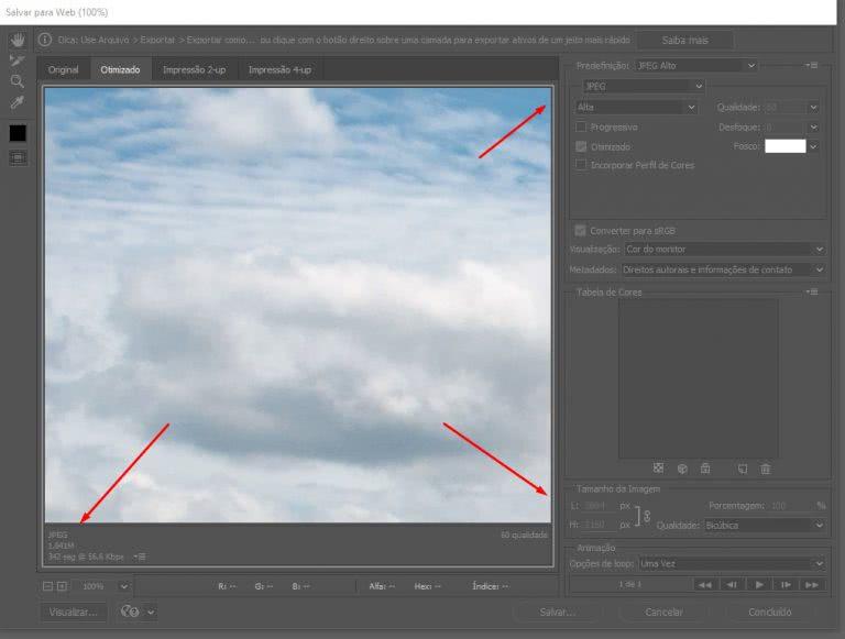 otimizar salvar para a web no photoshop
