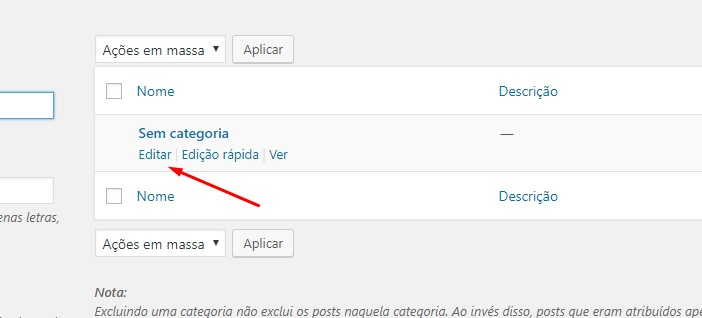 Deletar a categoria sem categoria do wordpress
