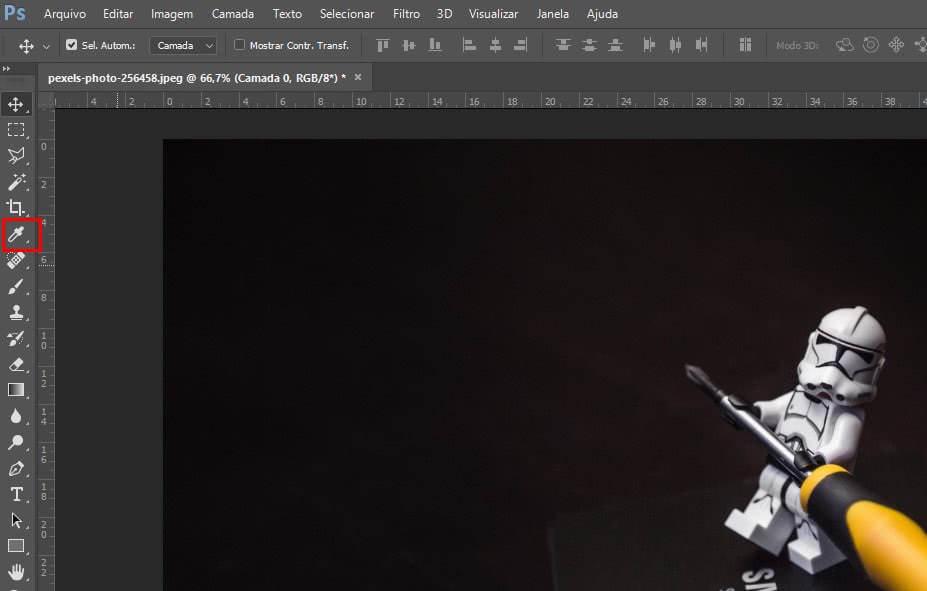 Localização da ferramenta de conta-gotas no photoshop