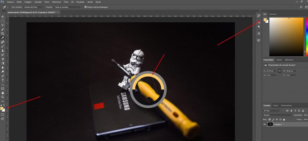 Como funciona a ferramenta de conta-gotas no photoshop