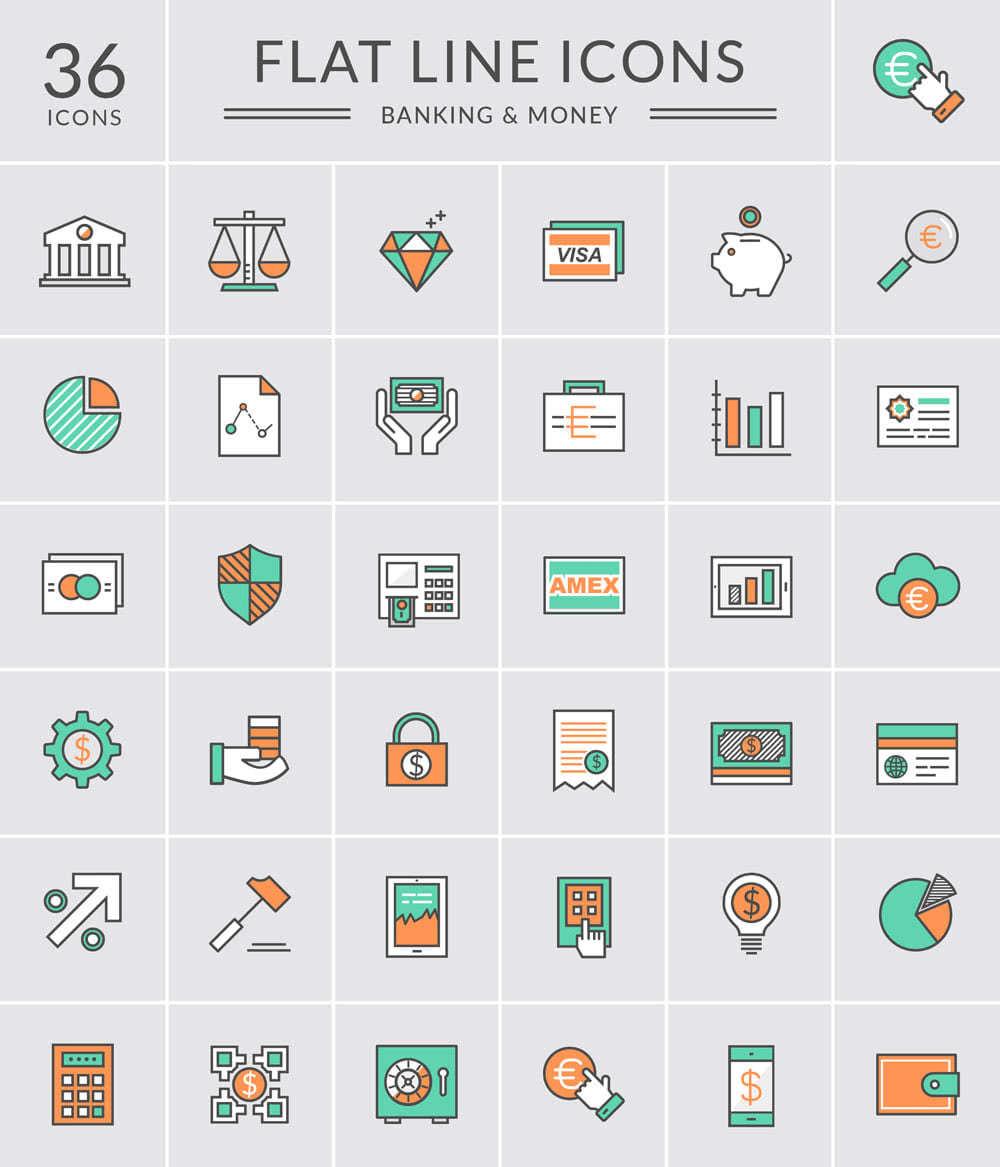ícones minimalistas de banco