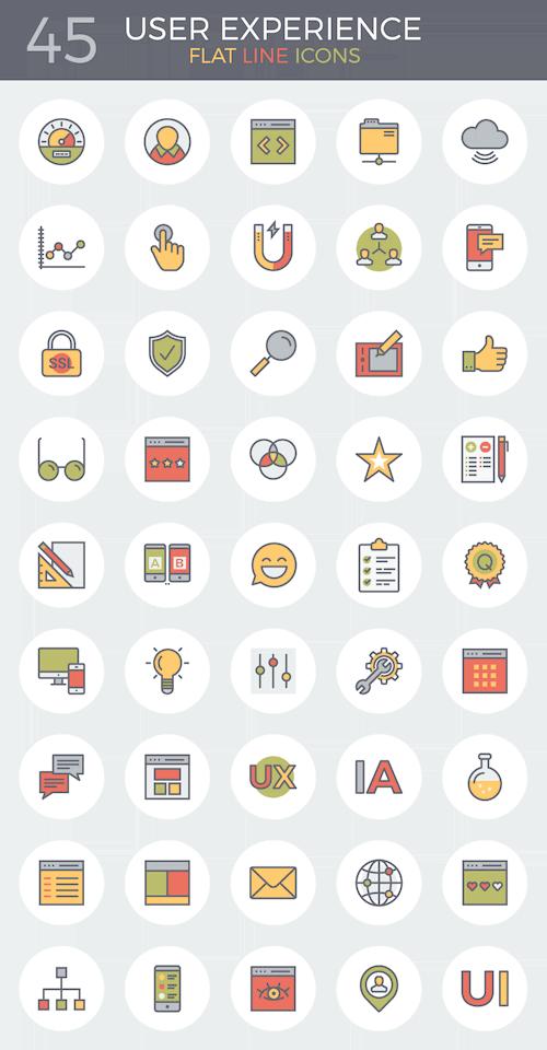 flat icons experiência do usuário