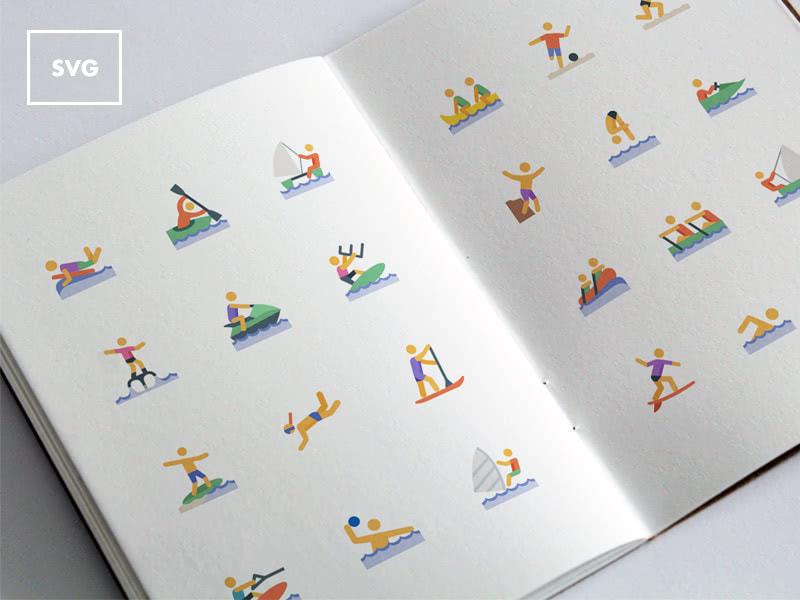 ícones svg de esportes aquáticos para download