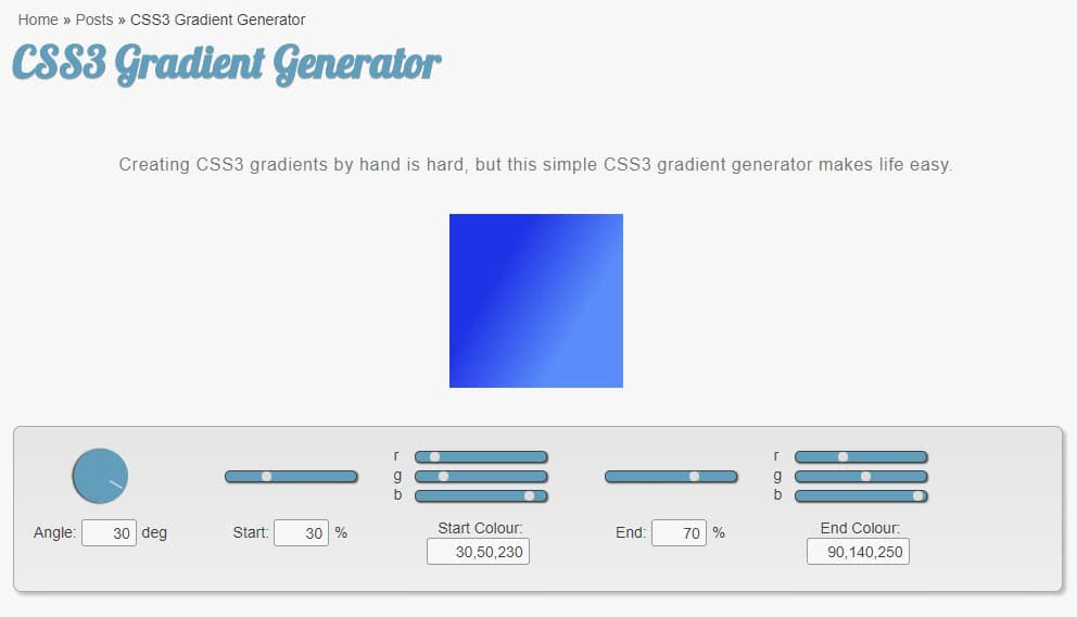 Gerador de gradiente css3