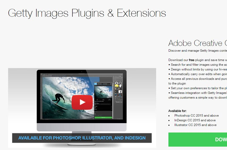 Plugin para o photoshop Getty Images