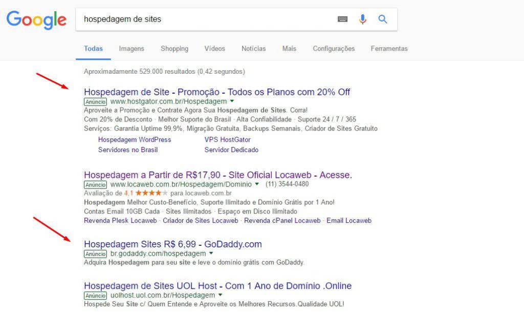 Pesquisa no google para hospedagem de websites