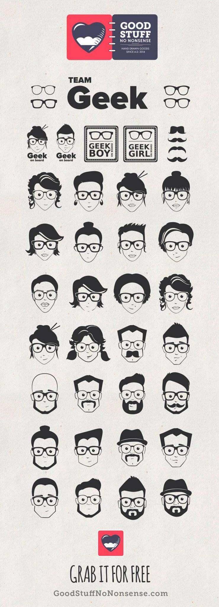 ícones gratuitos para baixar de rostos nerds