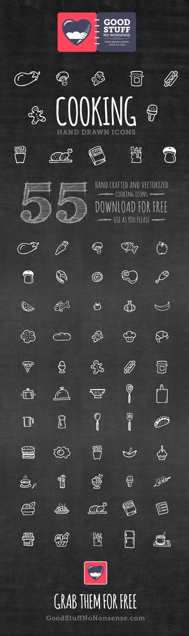 ícones de graça de culinária