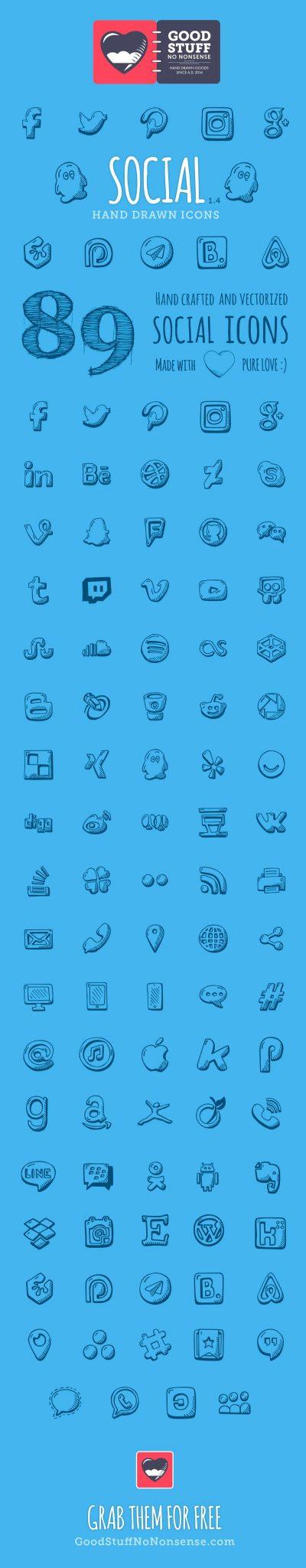 ícones para baixar de mídias sociais