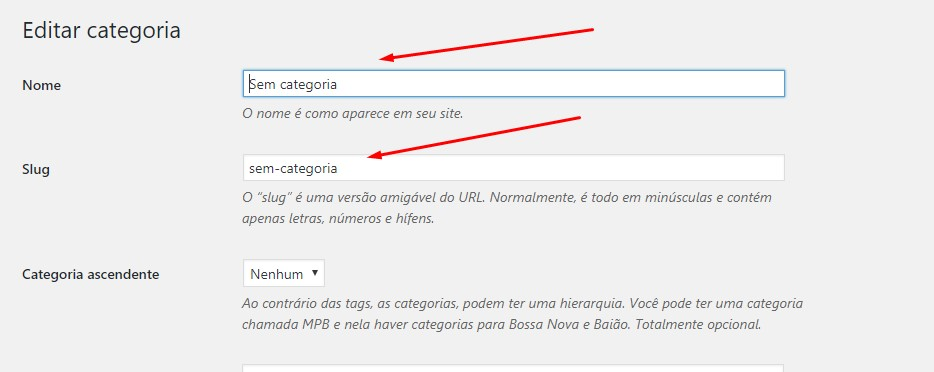 trocar o nome da categoria sem categoria do wordpress