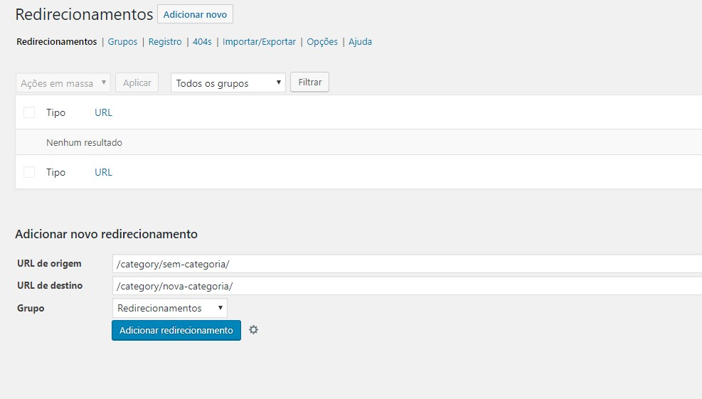 Redirecionamento de categoria no WordPress
