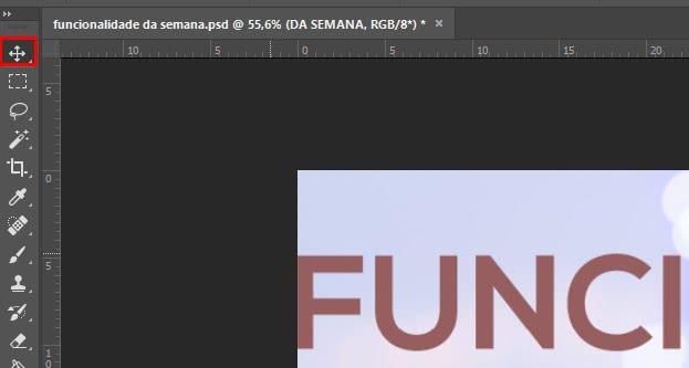 Localização ferramenta de mover no photoshop