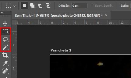 Localização ferramenta de seleção no photoshop
