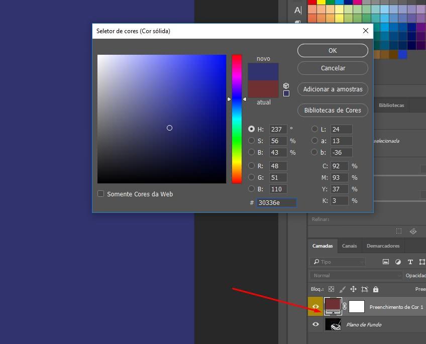 Preenchimento de cor no photoshop