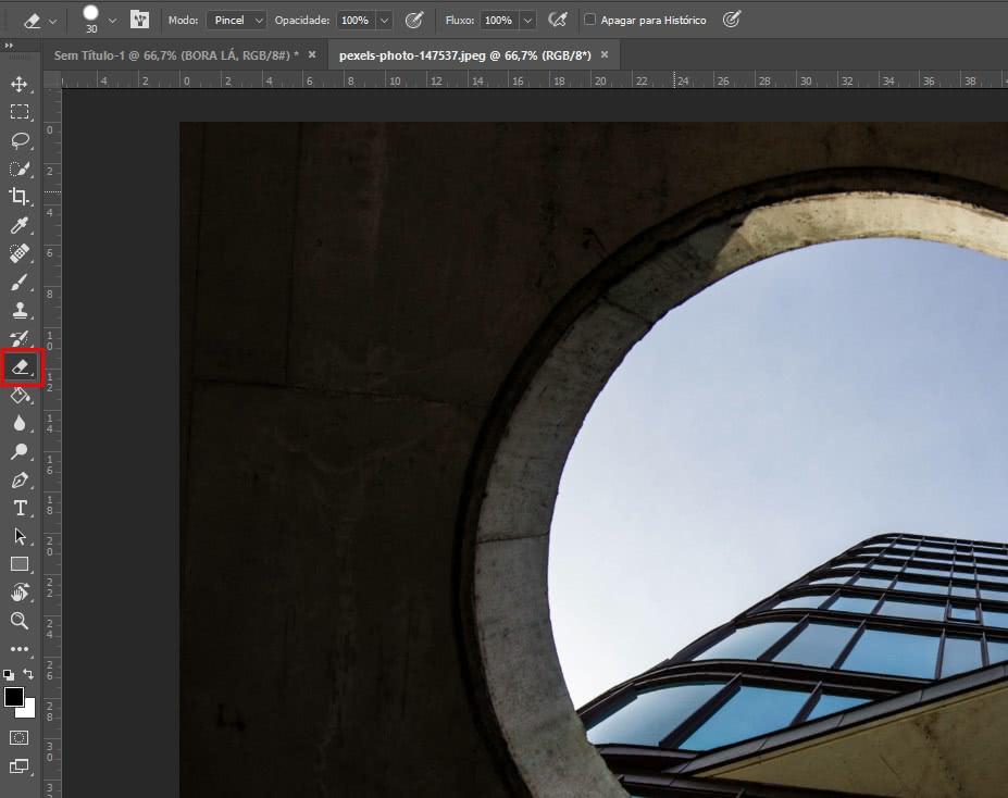 Localização ferramenta de borracha no photoshop