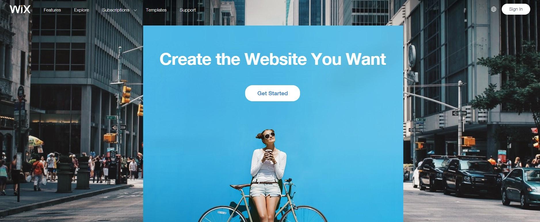 serviço de ciração de websites visualmente wix
