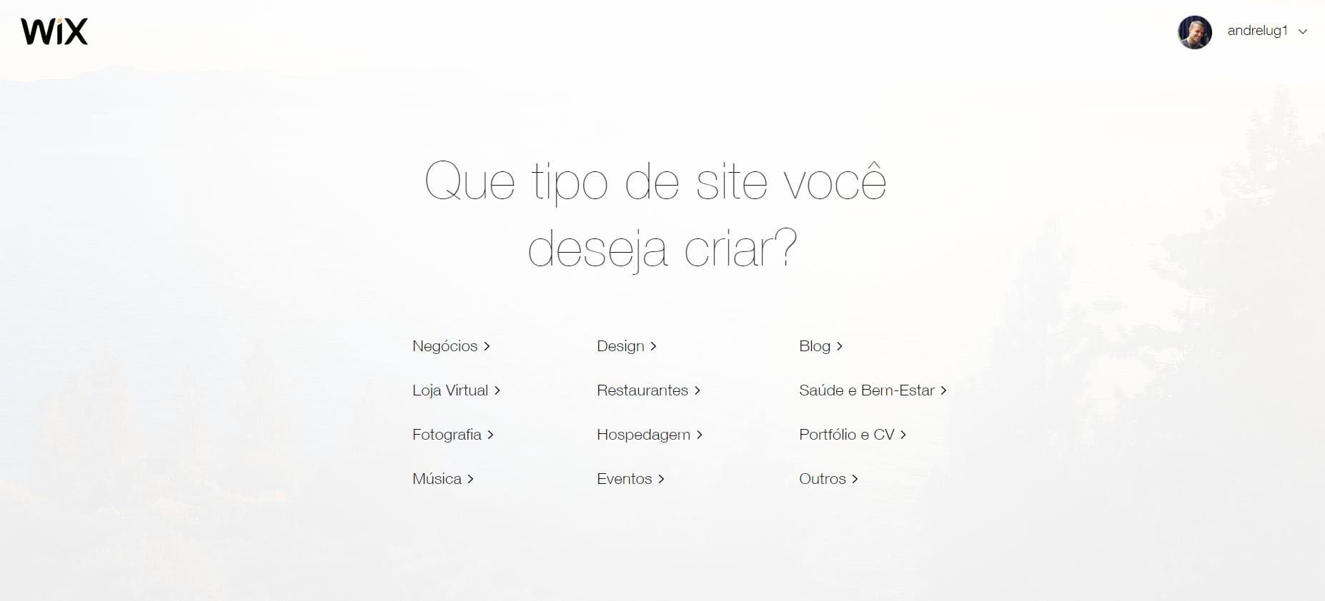Criar site gratuito no Wix