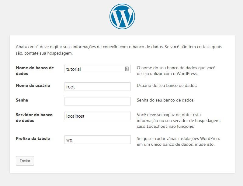 configuracao banco de dados instalar wordpress