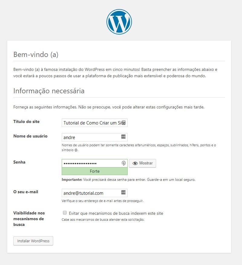 Configuração inicial da instalação do wordpress no windows