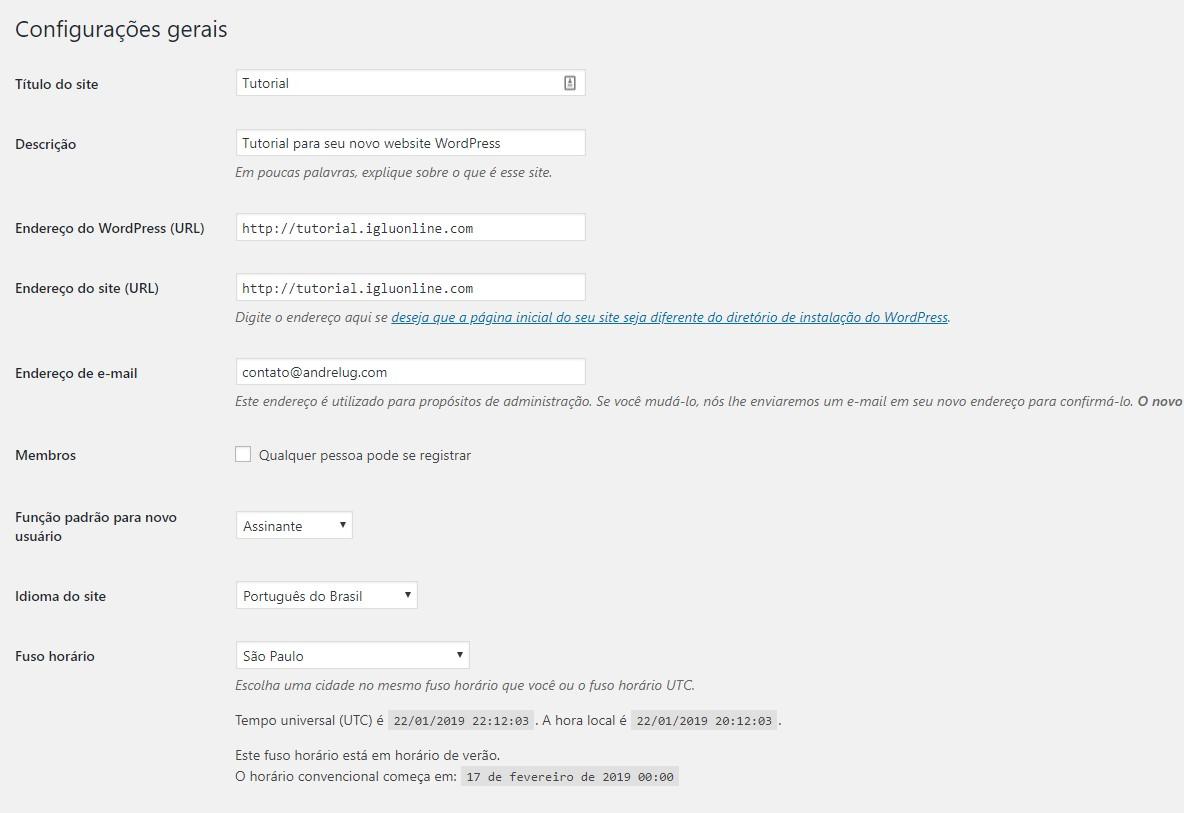 Configurações gerais do wordpress