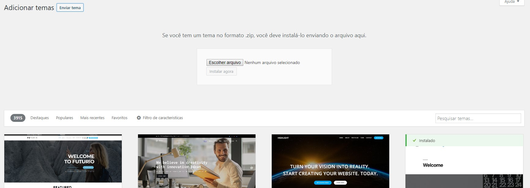 enviar tema wordpress