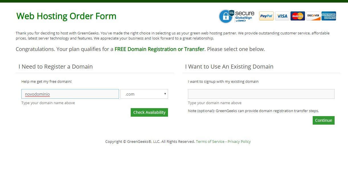 Contratação do serviço de hospedagem do green geeks