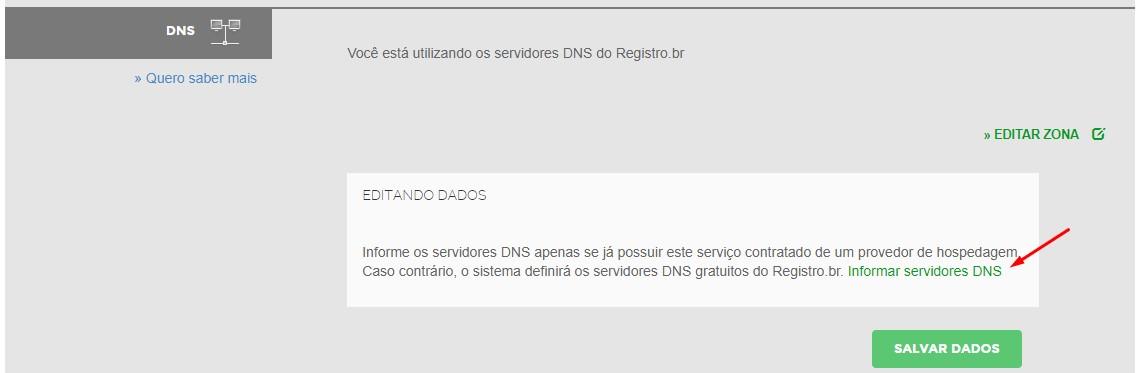informar ns no registro.br