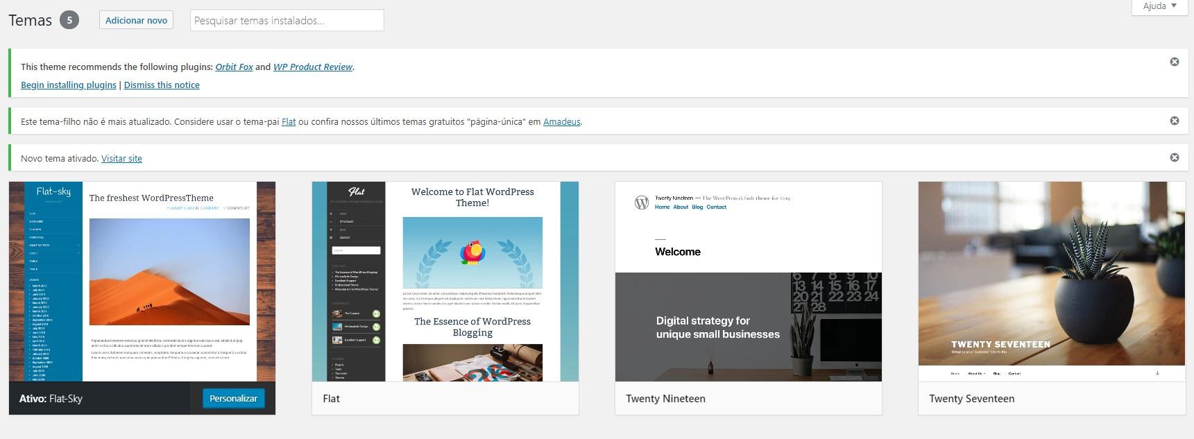 Novo tema instalado no WordPress