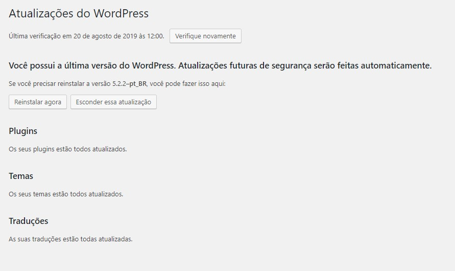Manter todos os temas, plugins e WordPress atualizados