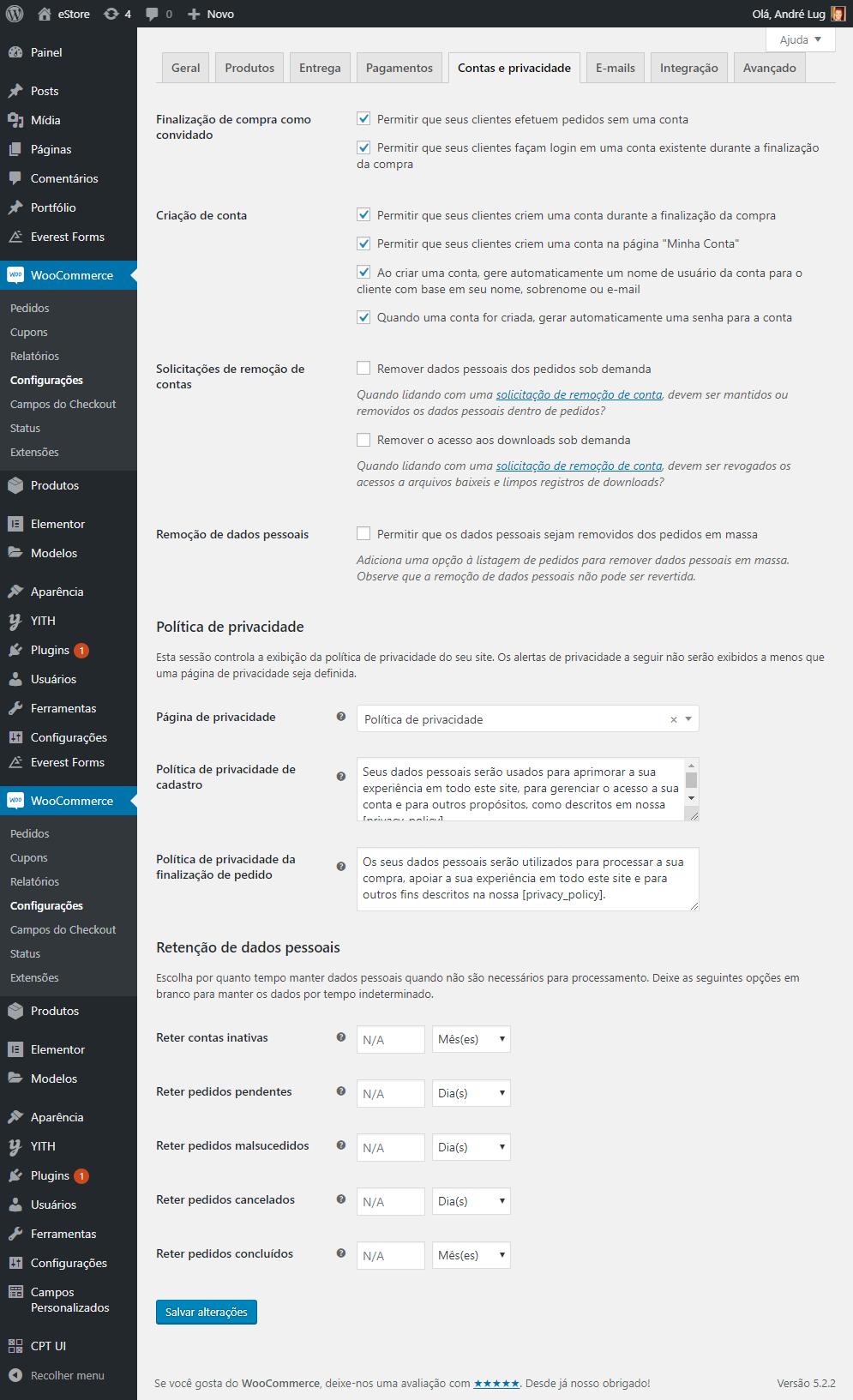 Configurações de conta e privacidade no WooCommerce