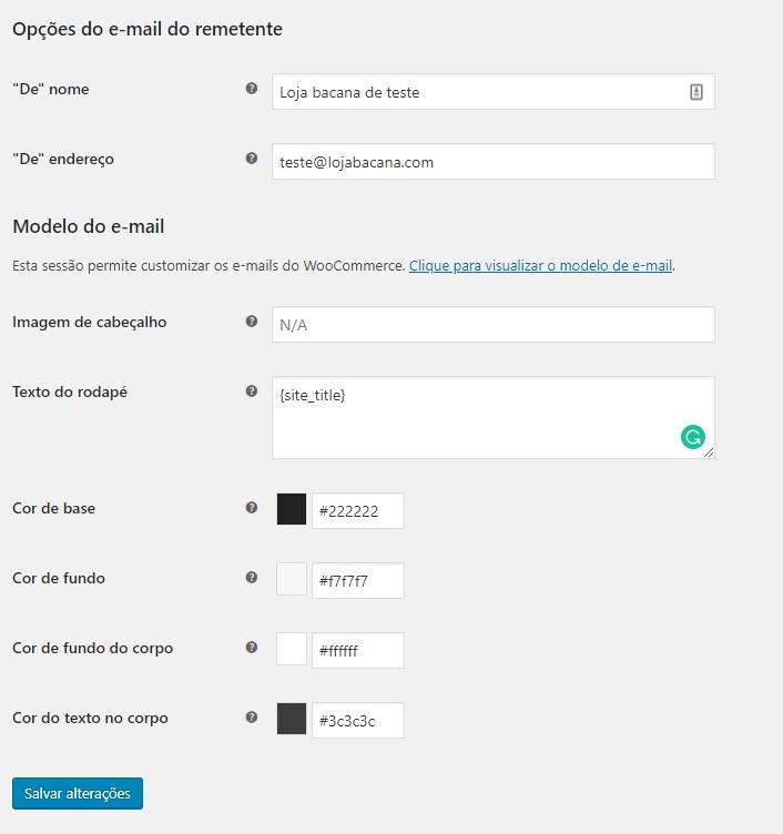 Configurações gerais de e-mail do woocommerce