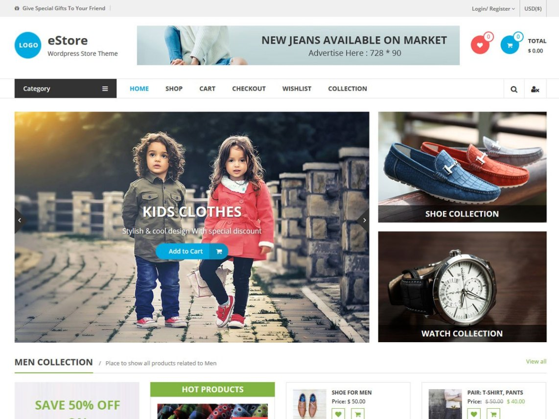 Template gratuito para wordPress loja online eStore