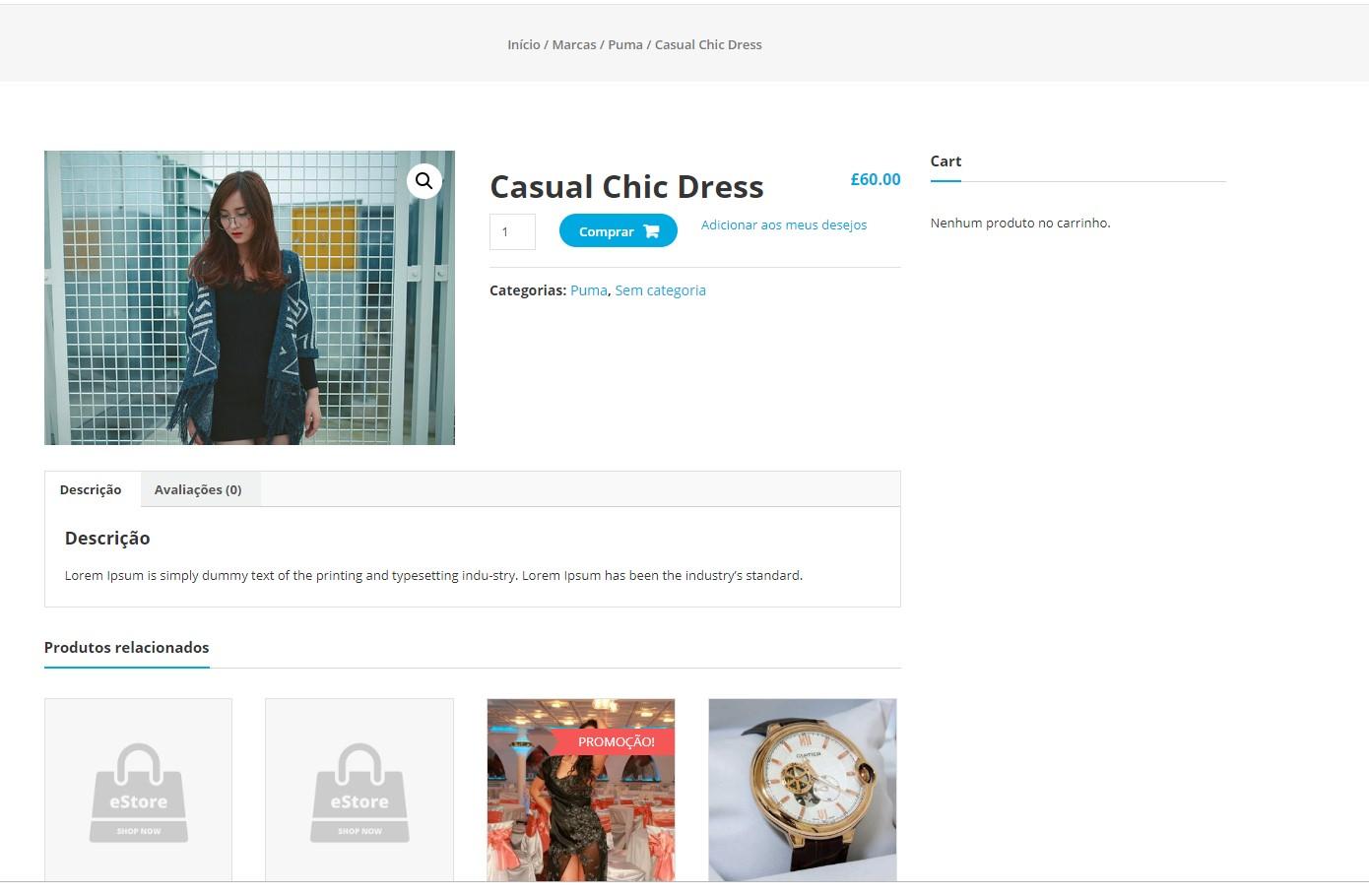 página padrão da loja online estore