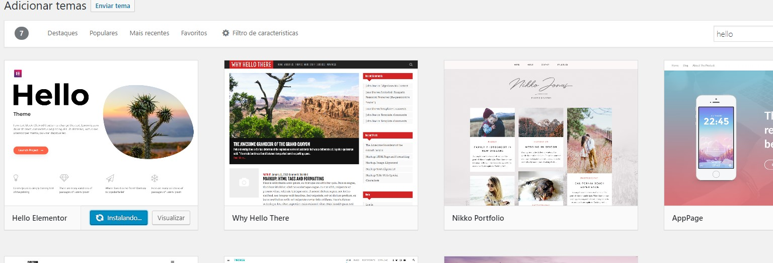tema hello elementor no wordpress