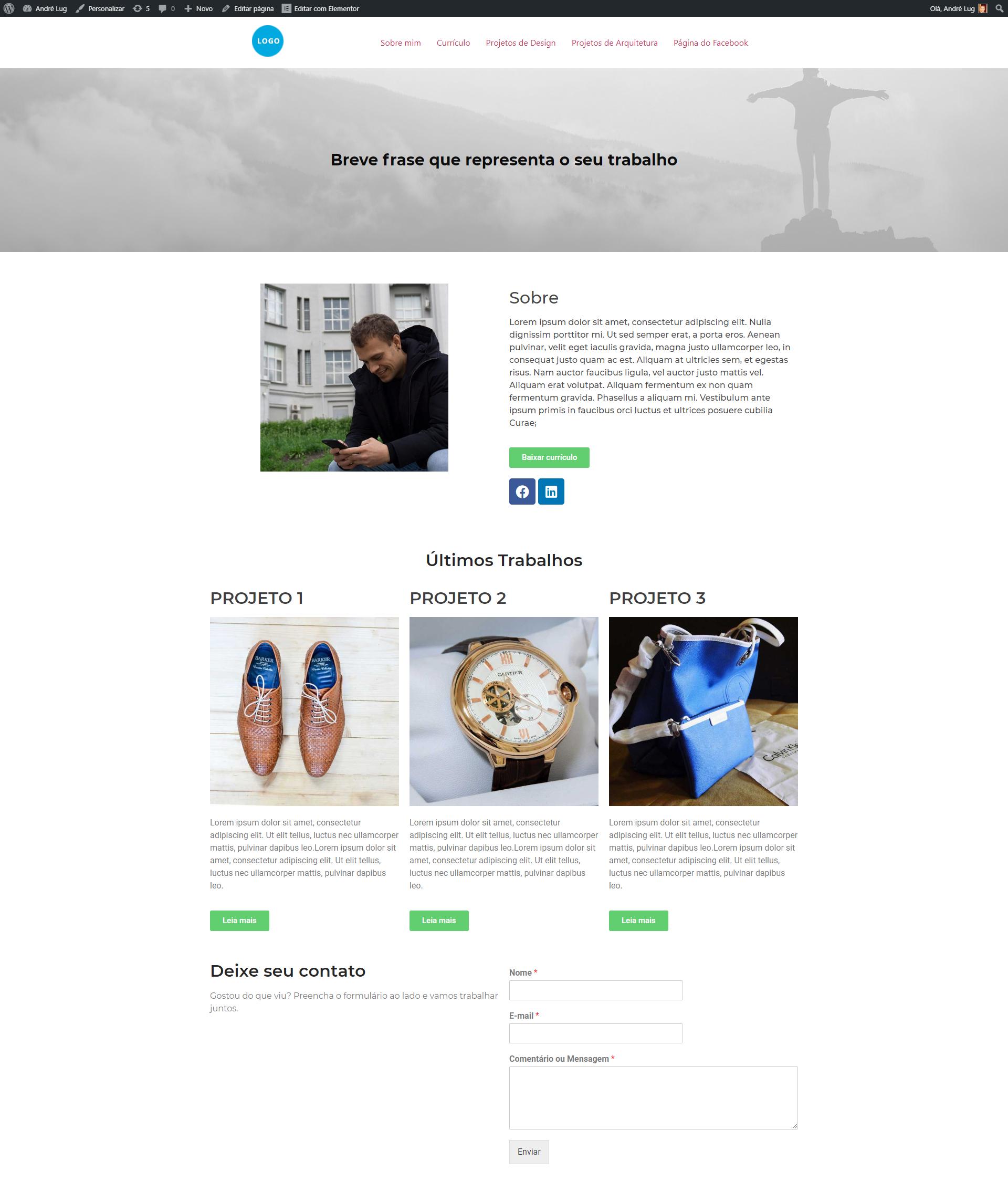 Página completa do portfólio